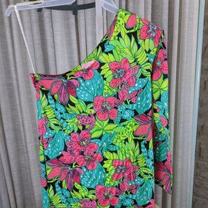 Lilly Pulitzer One Shoulder Tropical Frog Dress M